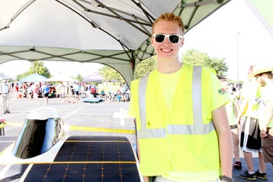 Blue Valley graduate participates in American Solar Challenge, makes stage stop at local engineering firm