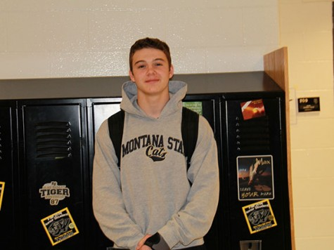 """Freshman Parker Harmon stands in a Montana State Cats sweatshirt. He said his favorite part of dressing athletically is getting girls. """"I wouldn't dress in anything but athletic clothing,"""" Harmon said."""