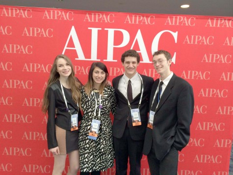"""Posing with fellow lobbyists, junior Sam Saper (left center) attends policy conference in Washington, DC. This year's policy conference took place March 1-3.""""With all of these people going in and fighting for Israel every day and the 16,000 supporters rushing Capitol Hill every year, it makes a statement to lawmakers,"""" she said. Photo submitted by Sam Saper."""