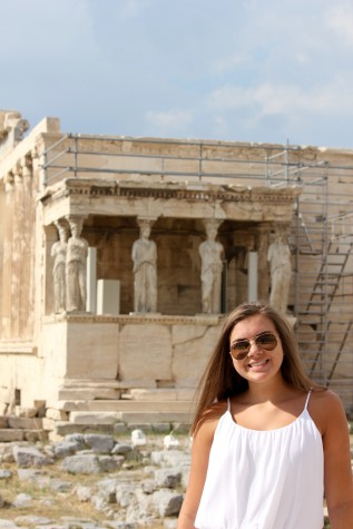 "Freshman Lexi Dross standing in front of the Parthenon, on July 4, 2015. The building she is standing in front of is over 2,500 years old. ""It took my mom and I 30 minutes to walk up the mountain to see it,"" Drosos said. Photo by Kristine Dross"