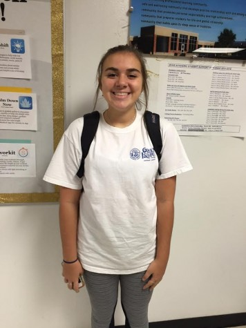"Lexi Drosos in school talking about Greece trip, on October 27, 2015. Over the summer freshman went to Greece for over two weeks during the summer of 2015. ""The trip was so much fun, but I'm glad to be back in Kansas with my friends,"" Drosos said. Photo taken by Hanna Jones."