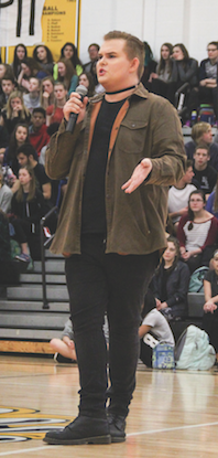 """Standing in front of the student body, junior Kaysha Foil speaks about ridicule he has faced because of being different.  Foil is a member of Gay-Straight Alliance and performed a speech with his fellow members of GSA. """"My freshman year I came out as gay, and I felt like I needed more of a support group other than my friends,"""" Foil said. """"I decided to go to one of the [GSA] meetings, and I've been there ever since."""""""