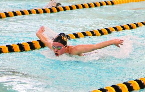 """Swimming butterfly, junior Audrey Hawn competes in a swim competition. She has been on the swim team for three years. """"I like the team camaraderie and how it's an individual sport but you also compete as a team,"""" she said."""
