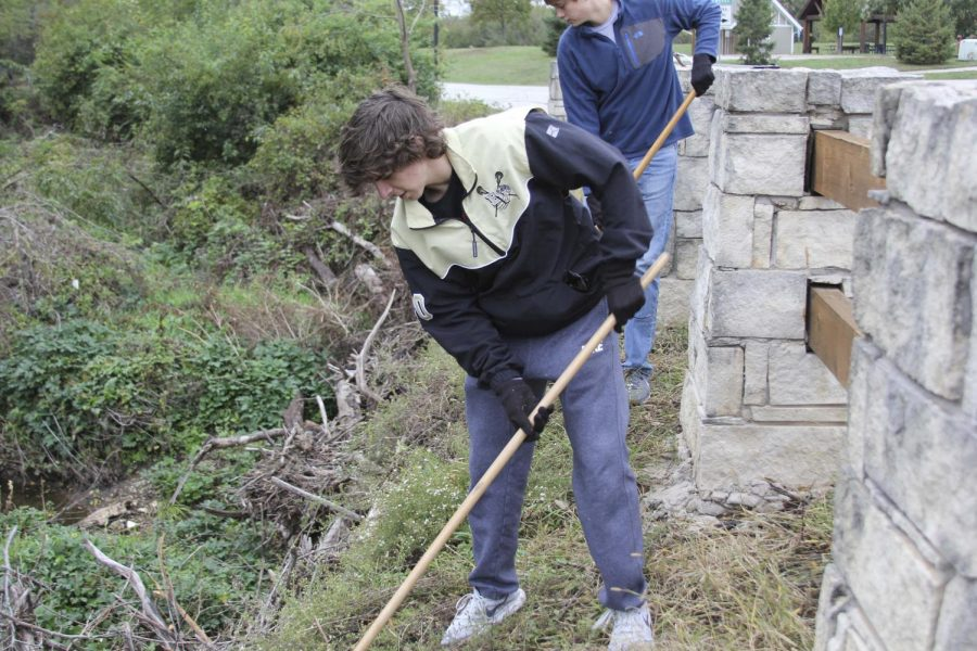 """While volunteering at Iron Woods Park, senior Thomas Drosos rakes leaves. """"It felt good to be cleaning up the park, [especially] since I run there a lot,"""" he said."""