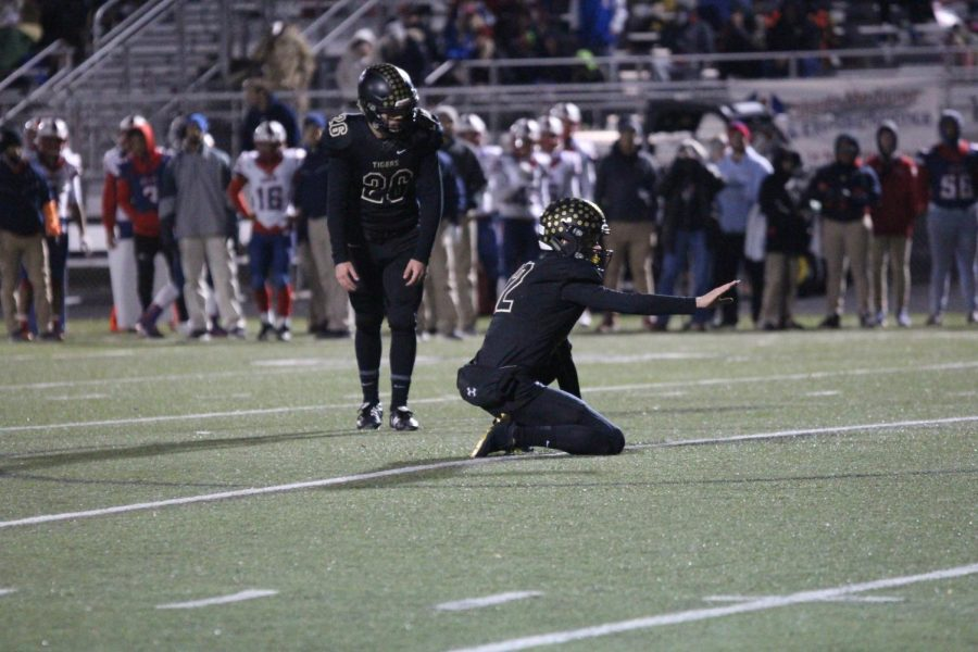 Senior kicker Jackson Likens anticipates his kick. Likens completed a 38 yard field goal at the start of the fourth quarter. Likens didn't miss a single kick in the game.