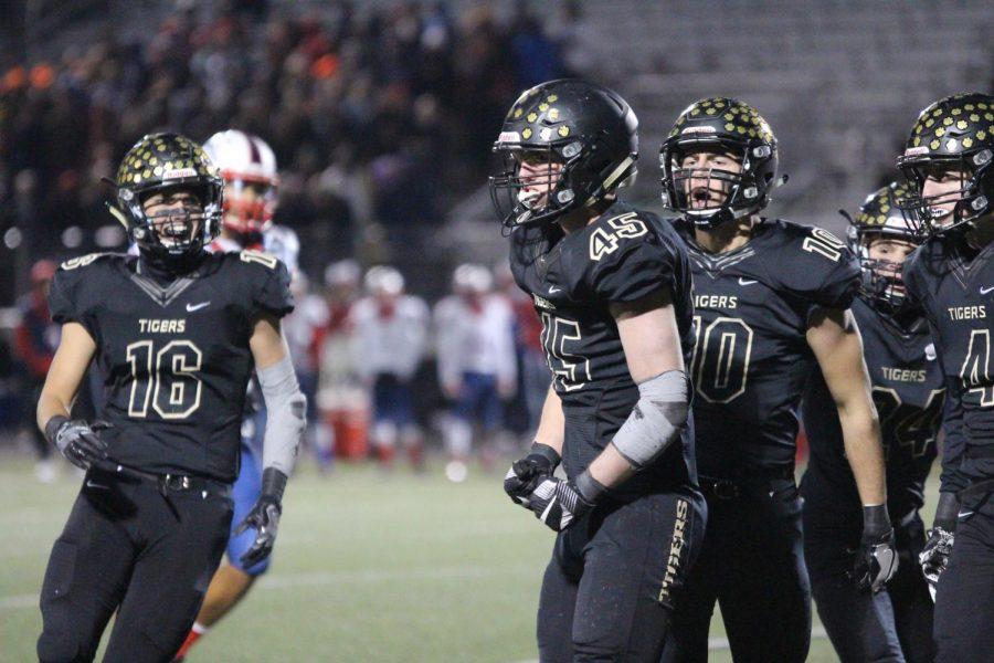 Senior Owen Olson and Nick Mclaury and junior Sutton Williams celebrate a touchdown. Junior Alex Gotta ran for a touchdown to bring the Tigers up 48-21.