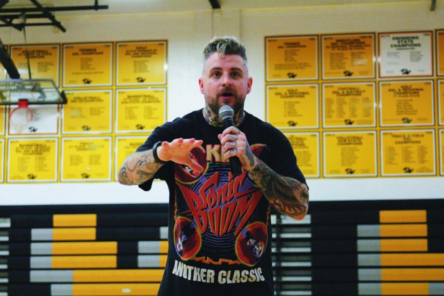 "Speaking to the junior and senior class, motivational speaker Davey Muise tells his life story. ""We are connected through our struggle and our desire to find purpose in our lives,"" he said."