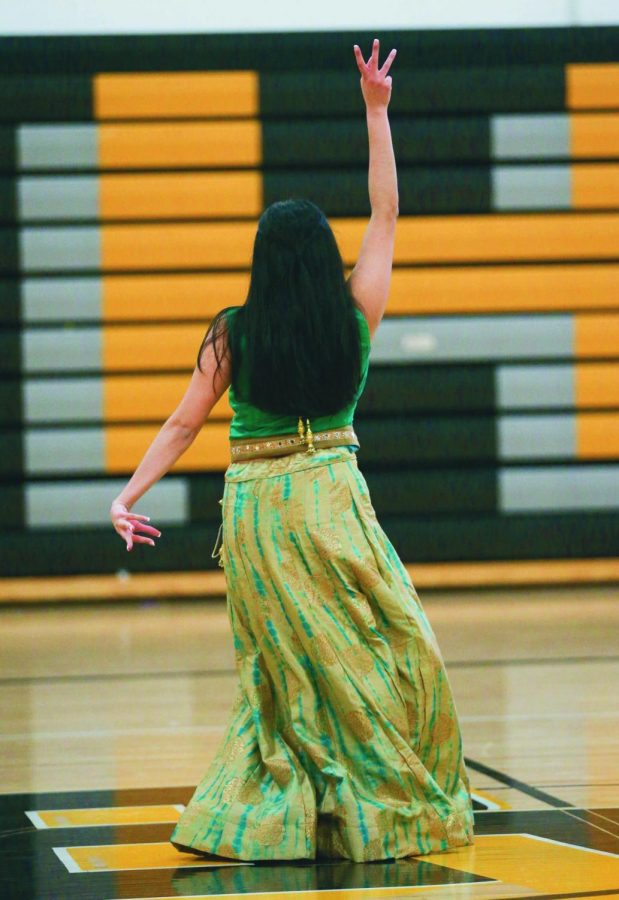 Performing in the Diversity Day assembly, 13 girls danced to Indian choreography and music. The dance was choreographed by 2 BV students.