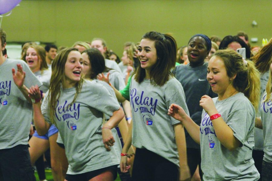 With friends, sophomore Graycee Butler dances during the Zumba class at Relay. This year, participants raised $215,562 that was donated to the American Cancer Society.