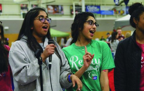 """Dancing during a campsite fundraiser, senior Anchitha Honnur performs """"Baby"""" by Justin Bieber with her friends. """"I relay because there are so many people who are unable to fight for themselves,"""" she said. """"If there's anything we can do for people who need help, we should do it."""""""