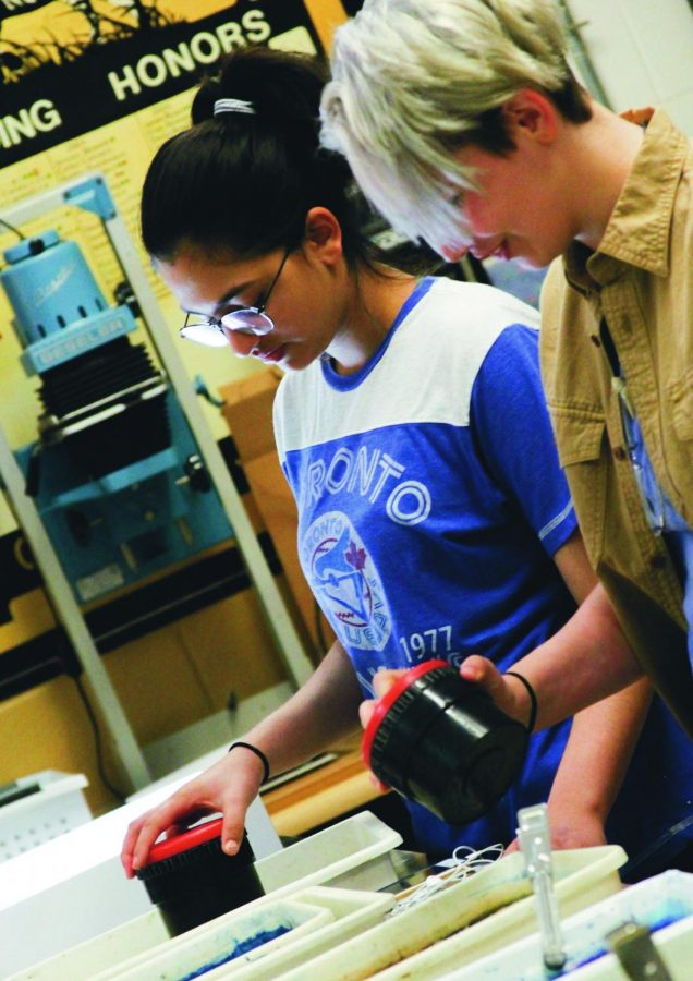 Processing film, Sophomore Marie Patel participates in Photography I.