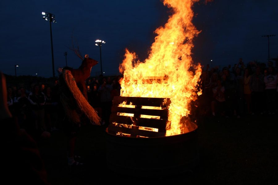 The Homecoming bonfire took place Oct. 4. Chick-Fil-A sandwiches were handed out to students who attended.