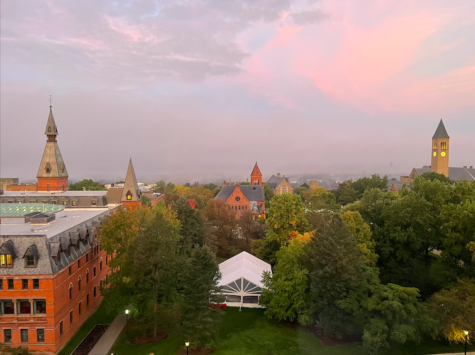 Westward view over campus in the morning